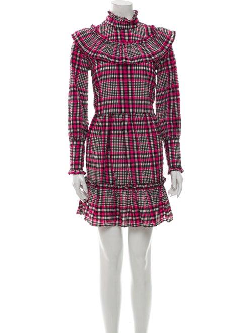 Ganni Plaid Print Mini Dress Pink