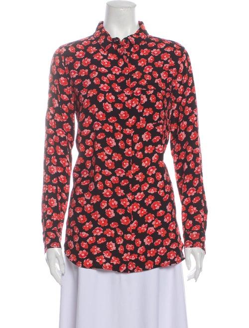 Ganni Floral Print Mock Neck Button-Up Top Black