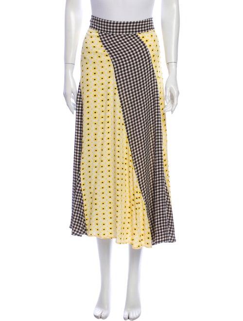 Ganni Printed Midi Length Skirt Yellow