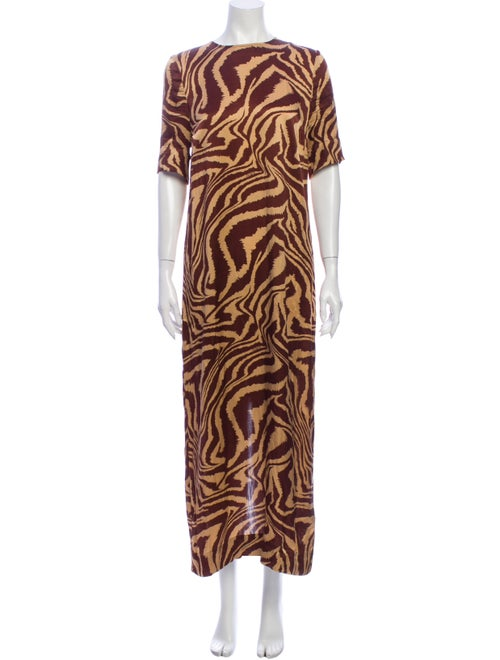 Ganni Silk Midi Length Dress Brown