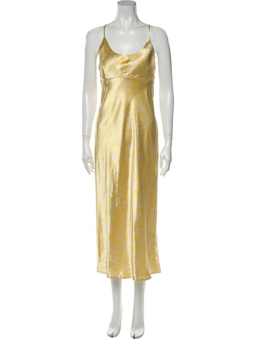 Ganni Scoop Neck Long Dress Yellow