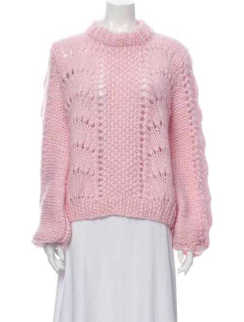 Ganni Wool Mock Neck Sweater Wool
