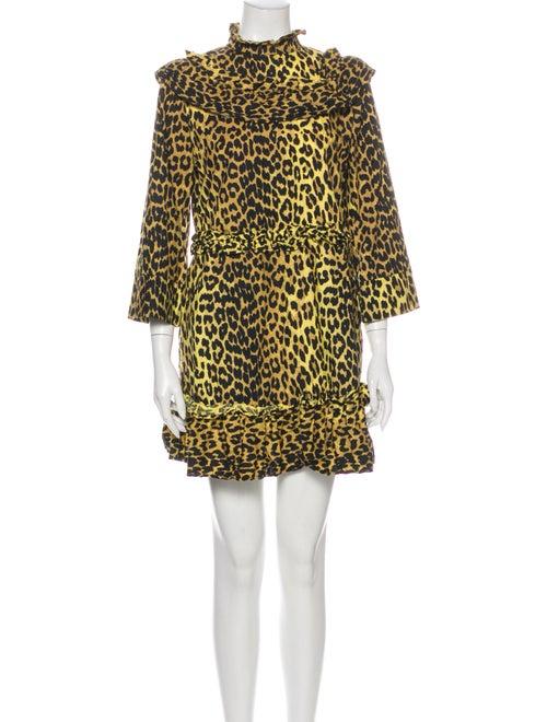 Ganni Animal Print Mini Dress Yellow
