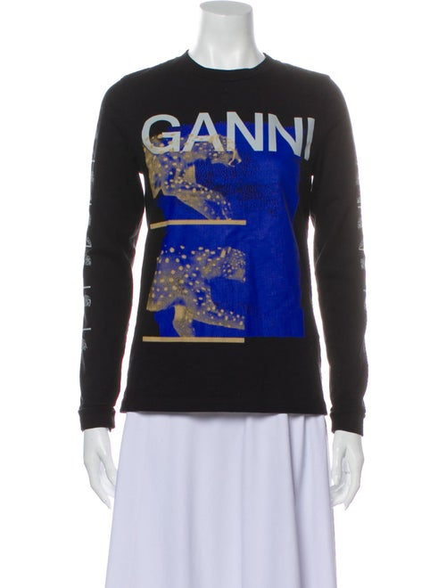 Ganni Graphic Print Crew Neck Sweatshirt Black
