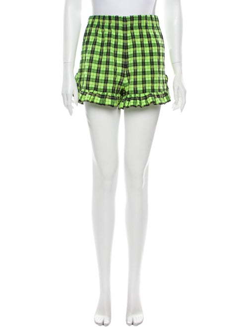 Ganni Plaid Print Mini Shorts Green