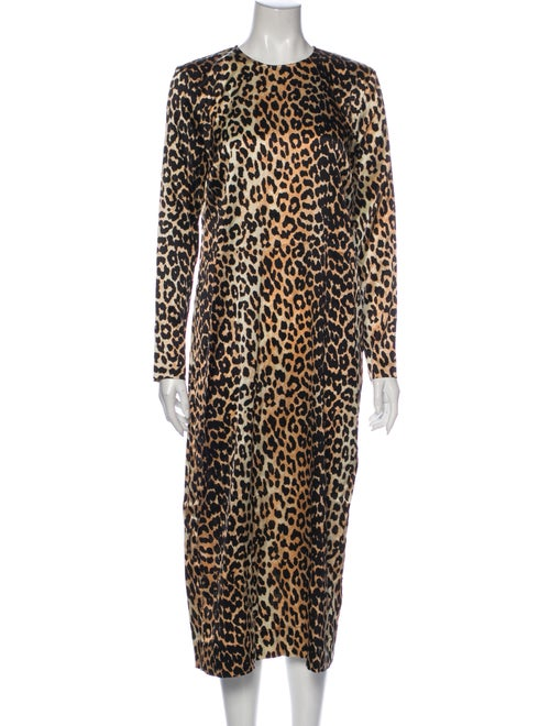 Ganni Silk Long Dress Black
