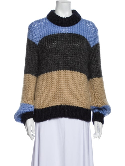 Ganni Striped Turtleneck Sweater Blue