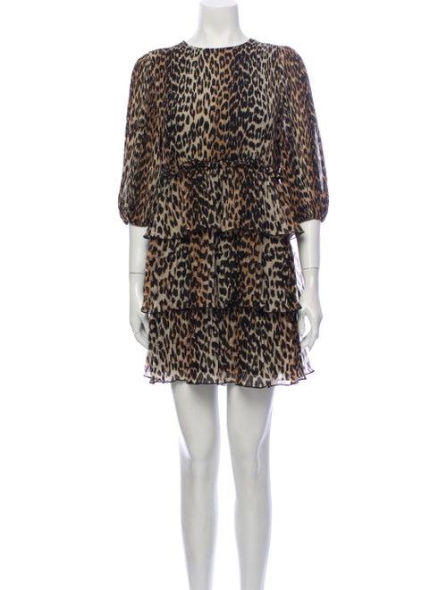 Ganni leopard plisse Mini Dress leopard