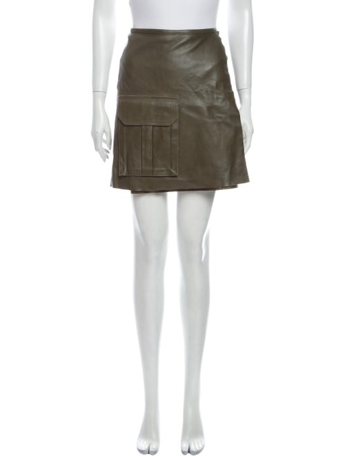 Ganni Lamb Leather Mini Skirt Green
