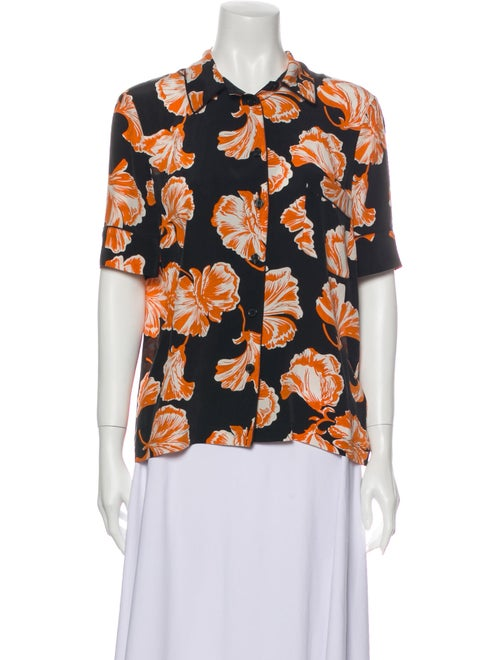 Ganni Silk Floral Print Pajamas