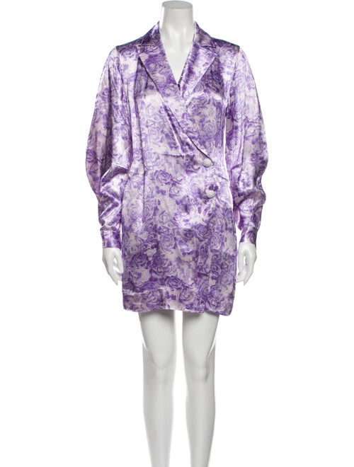 Ganni Printed Mini Dress Purple