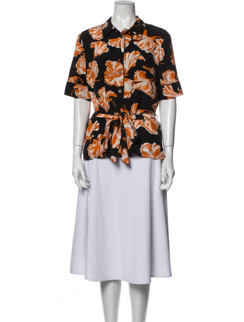 Ganni Silk Printed Blouse Orange