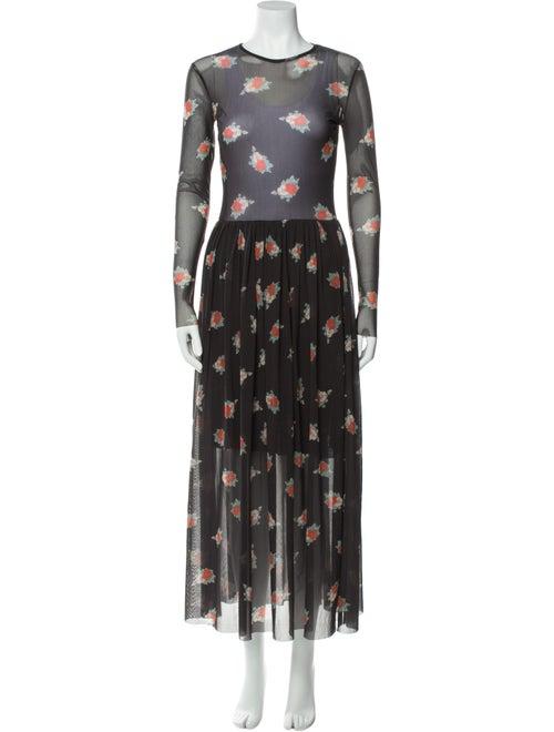 Ganni Floral Print Long Dress Grey - image 1