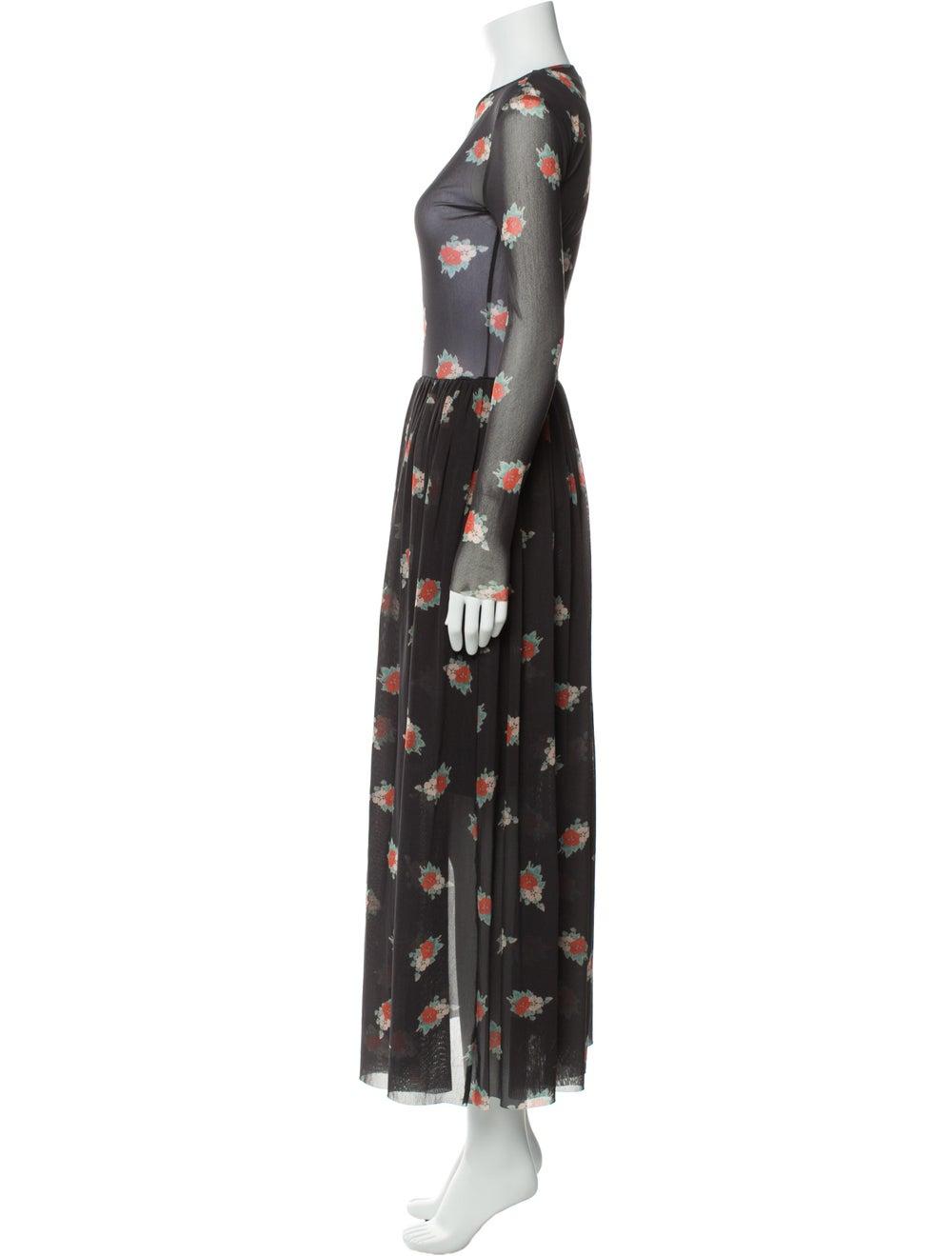 Ganni Floral Print Long Dress Grey - image 2