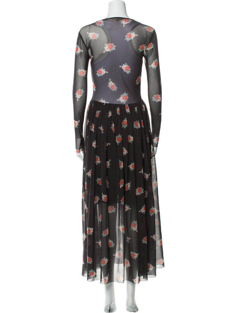 Ganni Floral Print Long Dress Grey - image 3