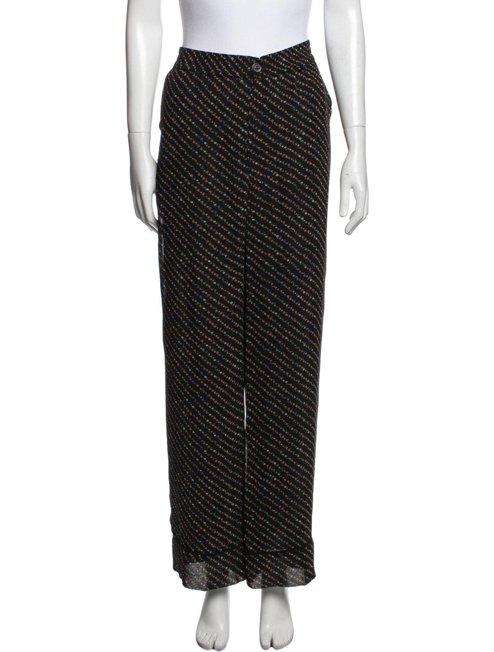 Ganni Striped Wide Leg Pants Black - image 1