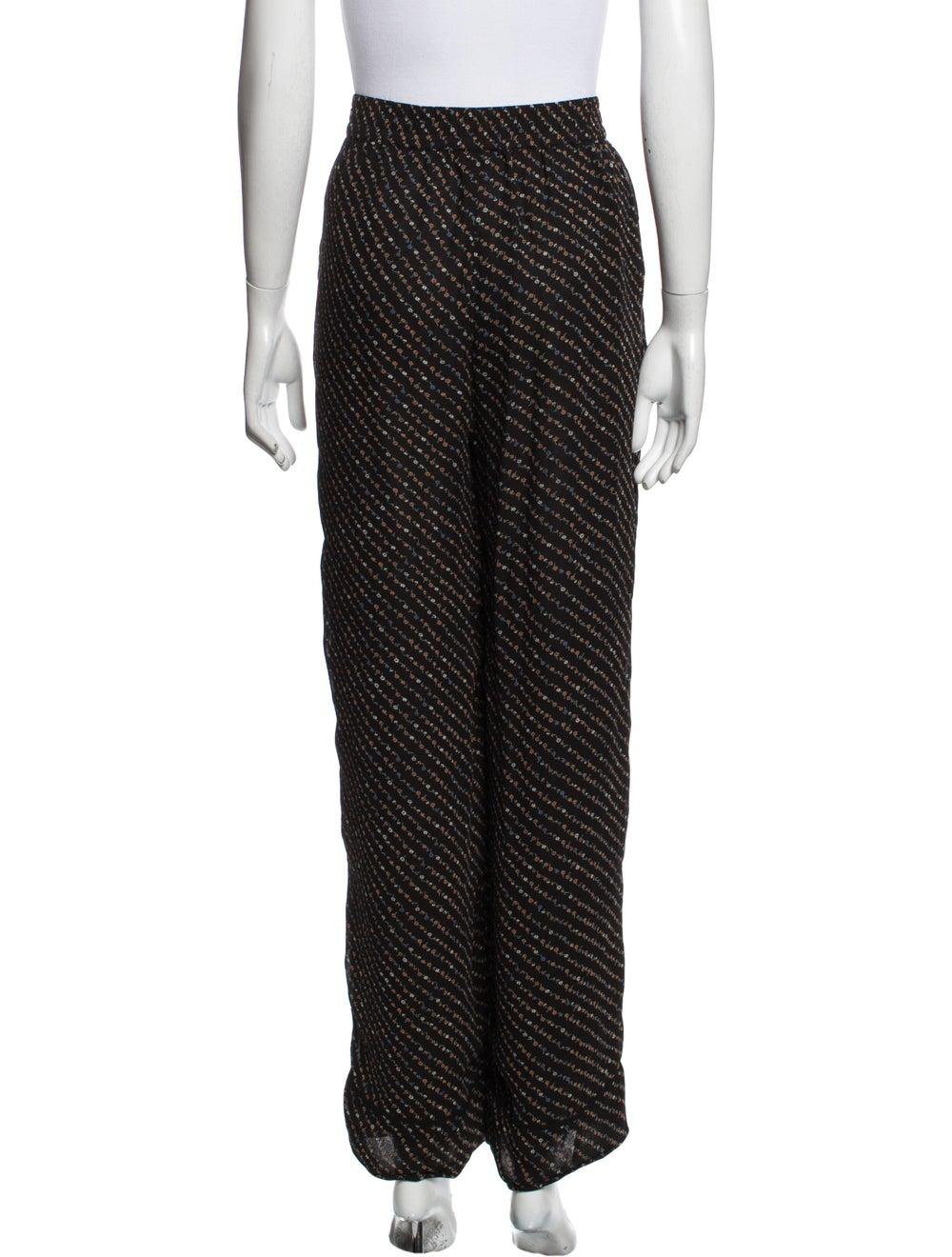 Ganni Striped Wide Leg Pants Black - image 3