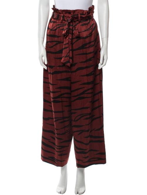 Ganni Silk Wide Leg Pants Red