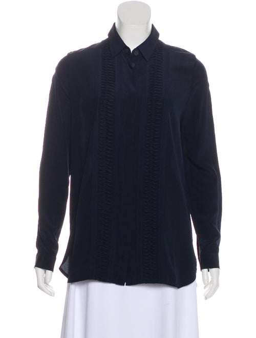 Zimmermann Long Sleeve Silk Blouse Navy
