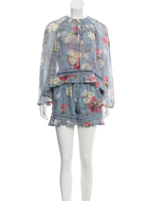 Zimmermann Floral Swiss Dot Romper blue