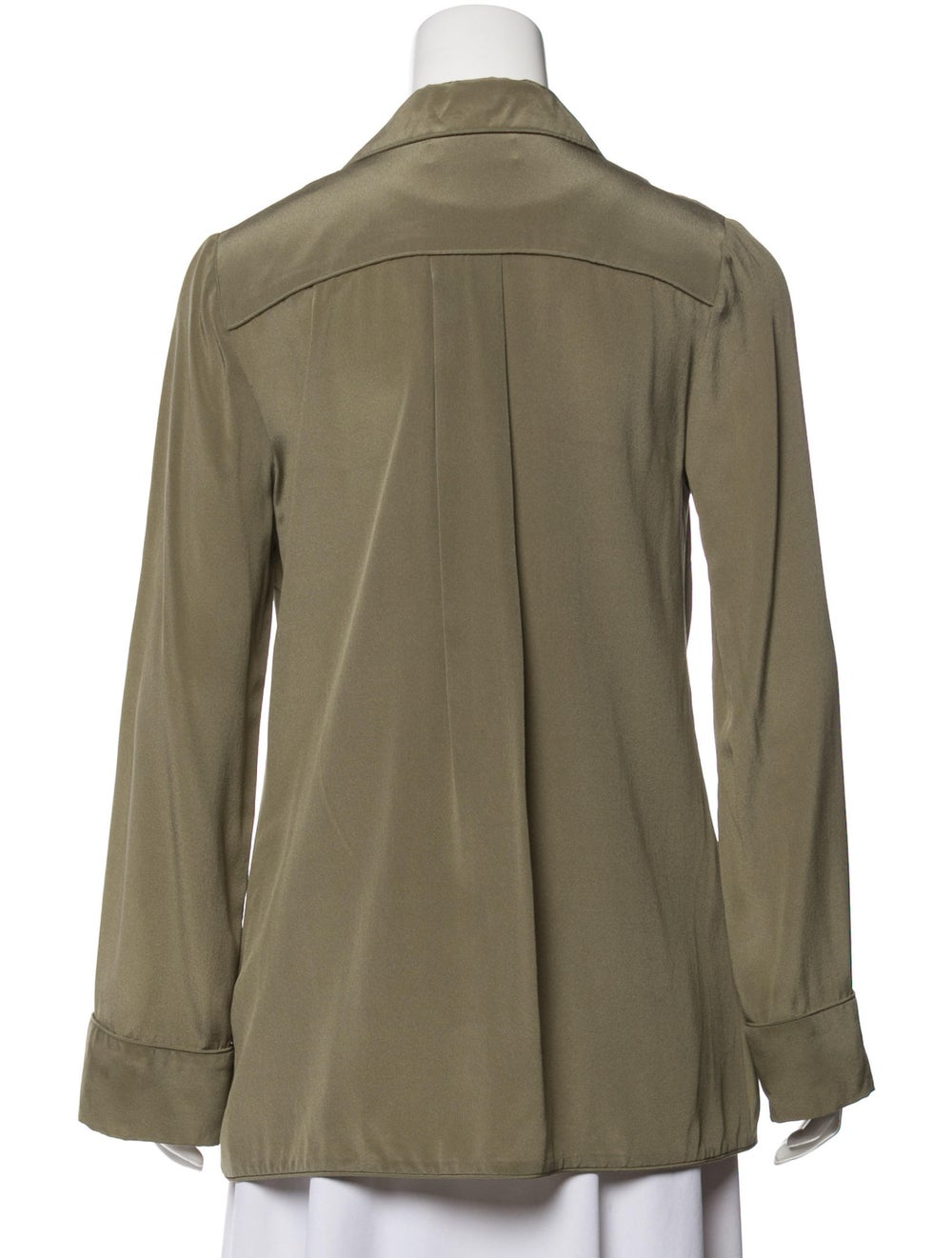Zimmermann Silk Long Sleeve Blouse Olive - image 3