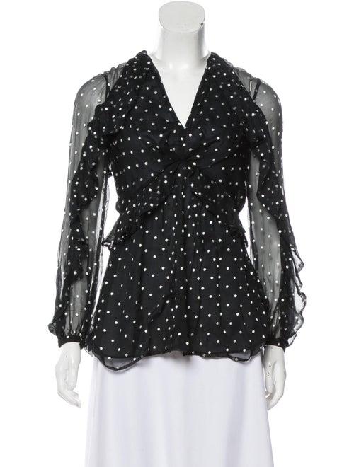 Zimmermann Silk Polka Dot Print Blouse Black