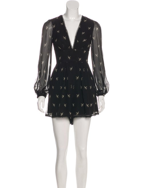 Zimmermann Silk Printed Romper Black