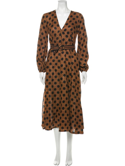 Zimmermann Polka Dot Print Long Dress Brown