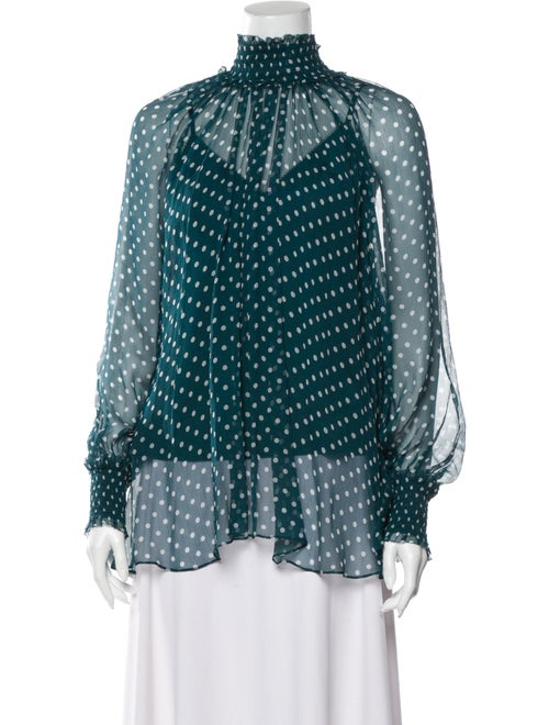 Zimmermann Silk Polka Dot Print Blouse Green