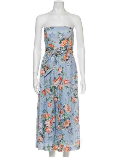 Zimmermann Linen Floral Print Jumpsuit Blue