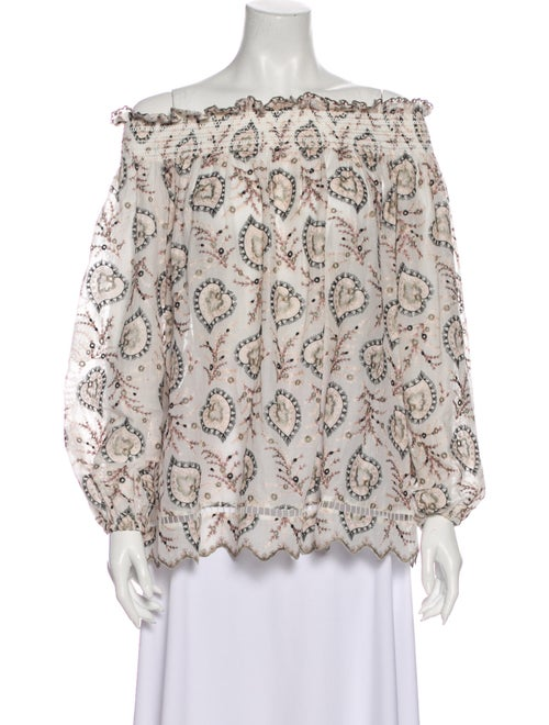 Zimmermann Printed Off-The-Shoulder Blouse