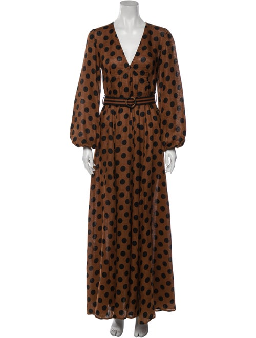 Zimmermann Linen Long Dress Brown
