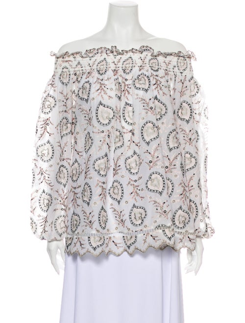 Zimmermann Printed Off-The-Shoulder Blouse White
