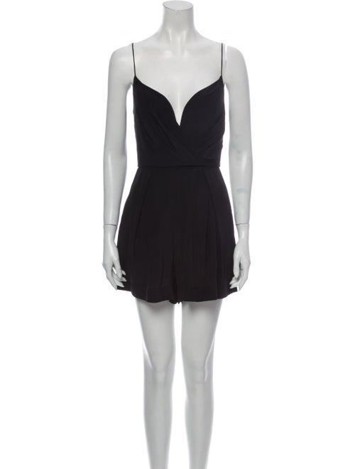 Zimmermann Silk Plunge Neckline Romper Black