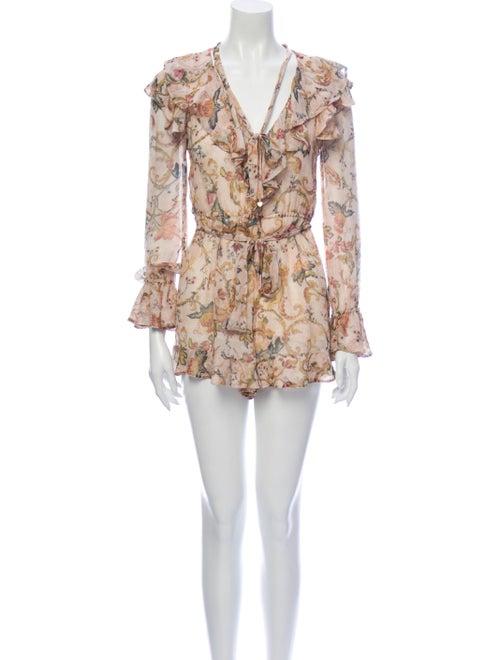 Zimmermann Silk Floral Print Romper - image 1