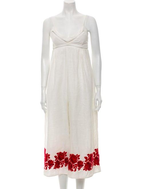 Zimmermann Linen Floral Print Jumpsuit White