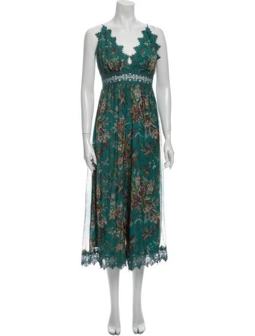 Zimmermann Silk Floral Print Jumpsuit Green