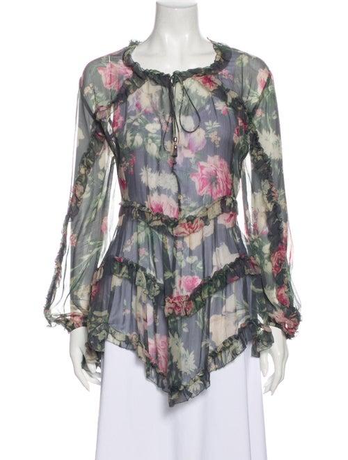 Zimmermann Silk Floral Print Blouse Grey