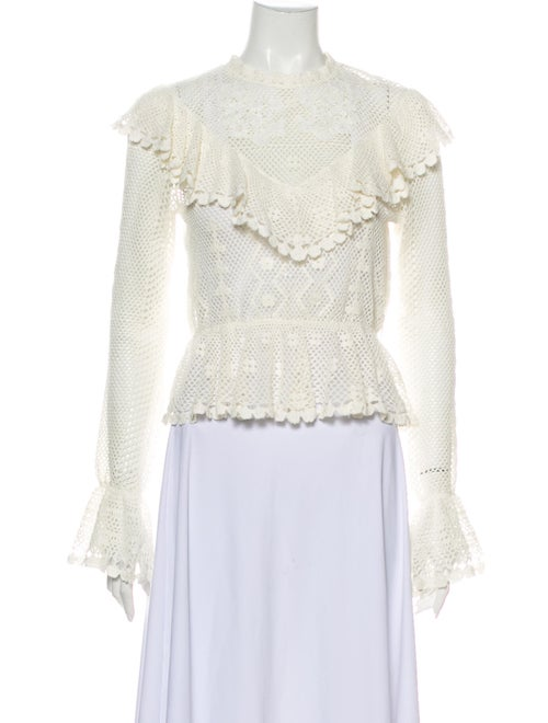 Zimmermann Lace Pattern Mock Neck Blouse White