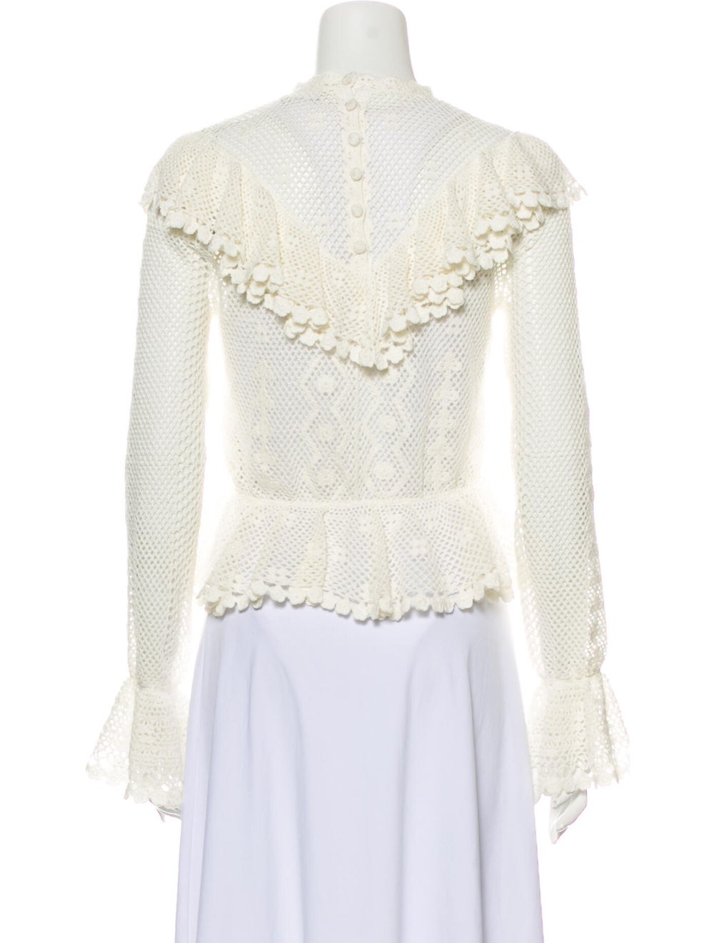 Zimmermann Lace Pattern Mock Neck Blouse White - image 3