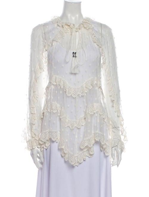 Zimmermann Silk Lace Pattern Blouse White