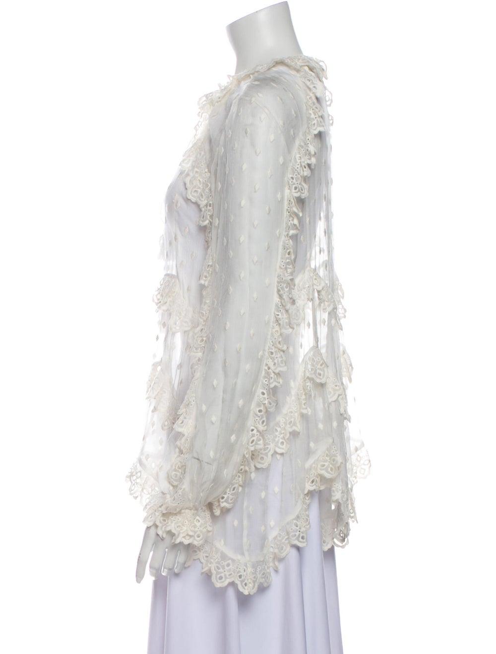 Zimmermann Silk Lace Pattern Blouse White - image 2