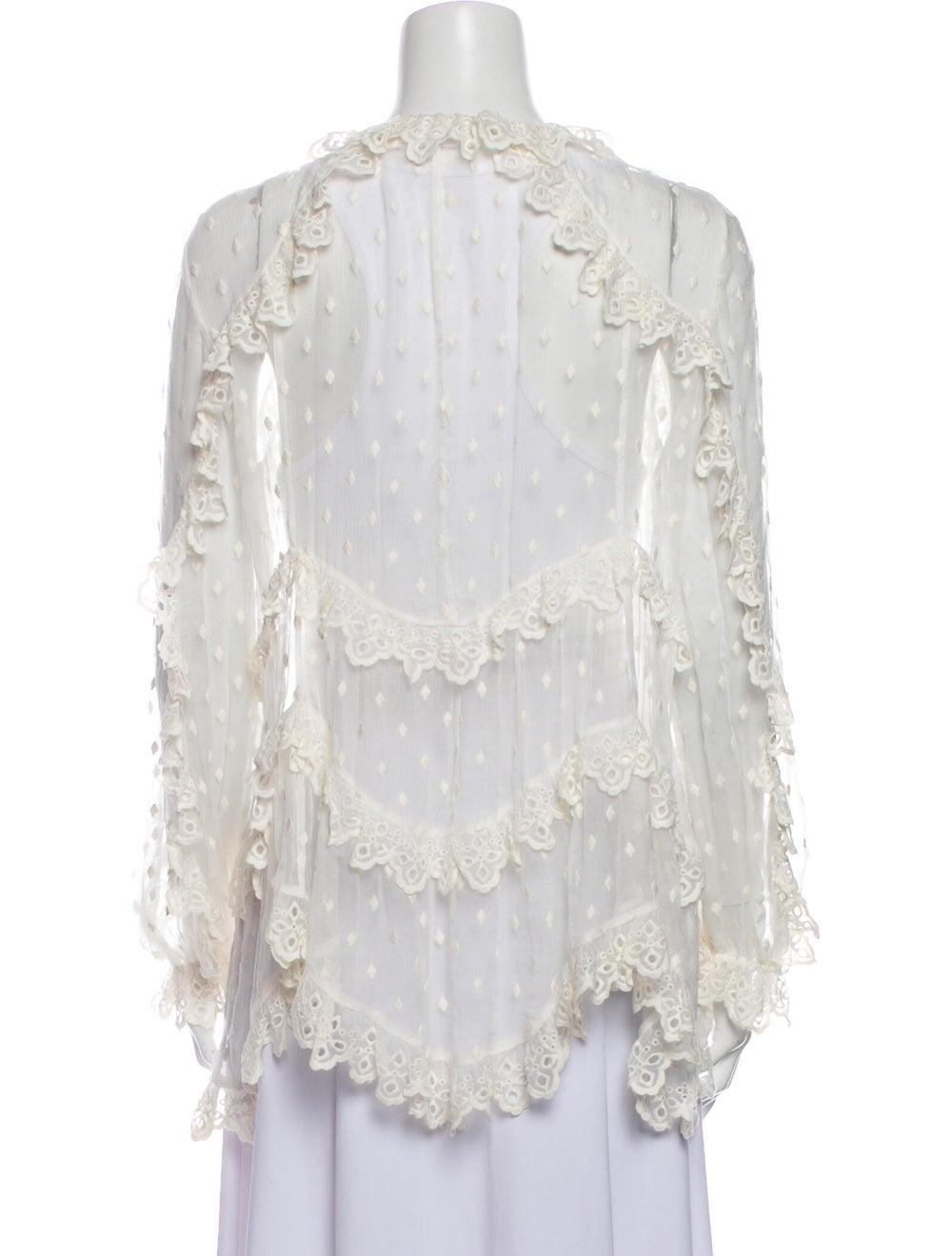 Zimmermann Silk Lace Pattern Blouse White - image 3