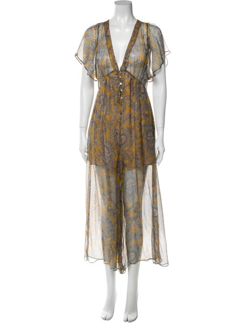 Zimmermann Silk Printed Romper Metallic