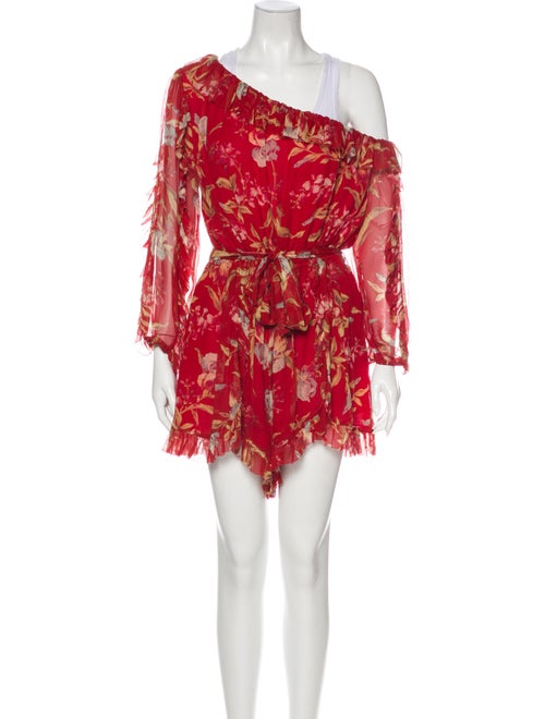Zimmermann Silk Floral Print Romper Red