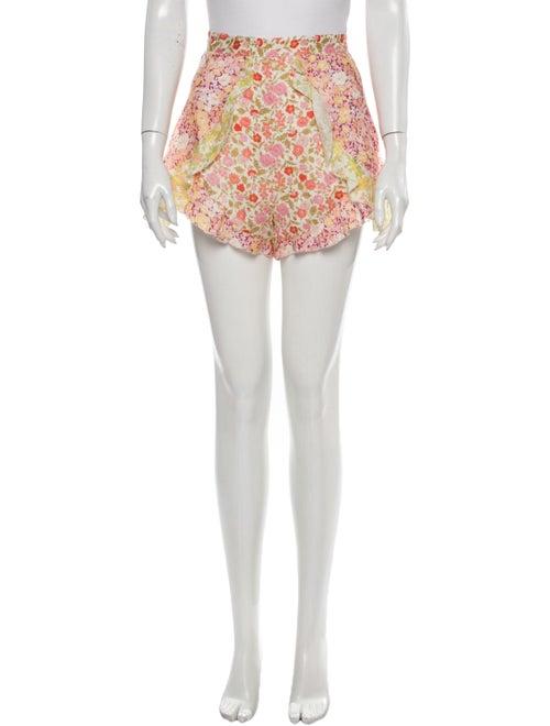 Zimmermann Linen Mini Shorts Pink
