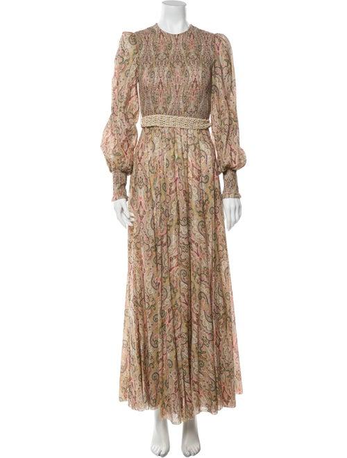 Zimmermann Paisley Print Long Dress Pink
