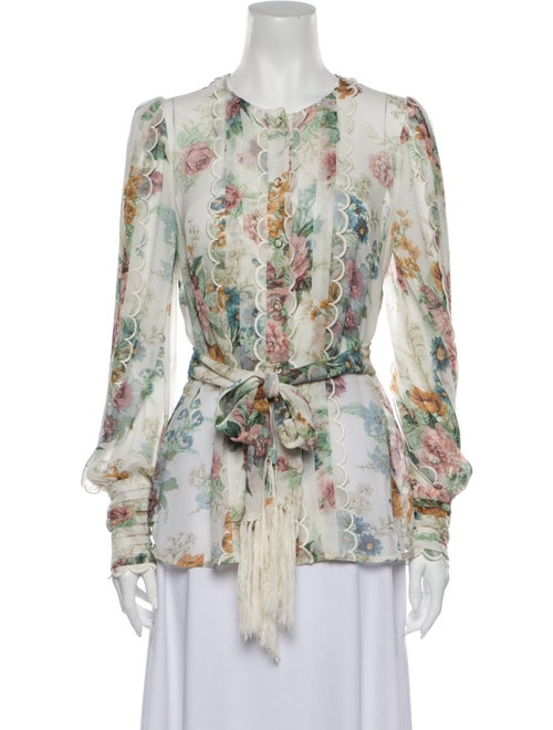 Zimmermann Silk Floral Print Blouse White