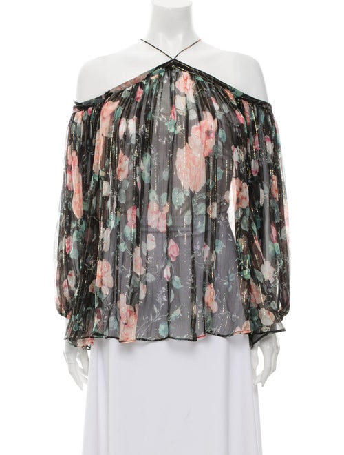 Zimmermann Silk Floral Print Blouse Black