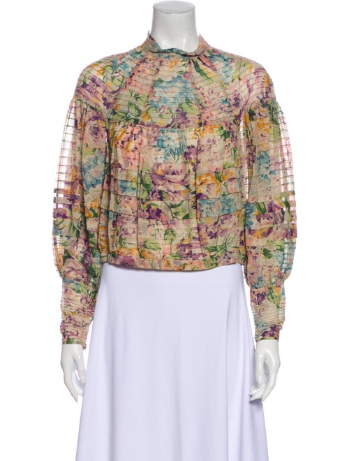 Zimmermann Floral Print Mock Neck Blouse